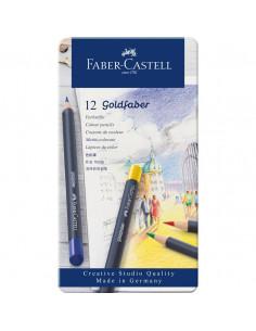 Creioane Colorate Faber-Castell Goldfaber, 12 Culori, Cutie Metal