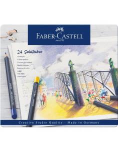 Creioane Colorate Faber-Castell Goldfaber, 24 Culori, Cutie Metal