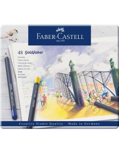 Creioane Colorate Faber-Castell Goldfaber, 48 Culori, Cutie Metal
