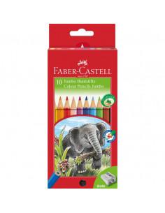 Creioane Colorate Jumbo Faber-Castell, 10 culori