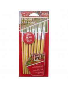 Pensula Set 8 Par Porc Varf Drept Daco Pn8U