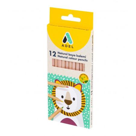 Creioane Colorate Adel, 12 Culori, Lemn, Natur