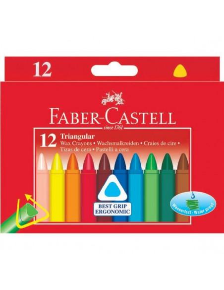 Creioane Cerate Triunghiulare Faber-Castell, 12 culori
