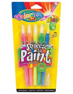 Set tempera in tub Colorino cu pensula, culori neon, 5 bucati
