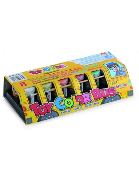 Set tempera superlavabila Toy Color autobuzul culorilor,8 bucati