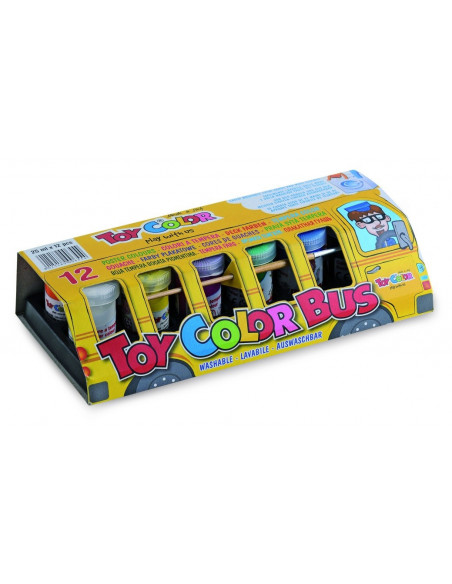 Set tempera superlavabila Toy Color autobuzul culorilor, 12