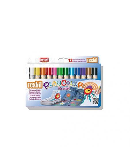 Tempera solida pentru textile Dunsa, 12 culori