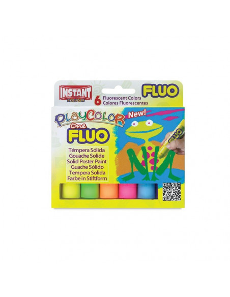 Tempera solida Playcolor Fluorescent, 6 bucati/set