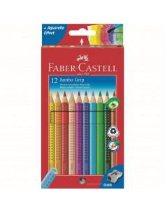 Creioane Colorate Faber-Castell Jumbo Grip, 12 culori + ascutitoare