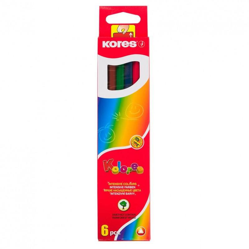 Creioane Colorate Kores Triunghiulare, 6 Culori