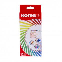 Creioane Colorate Eco Kores Triunghiulare, 12 Culori