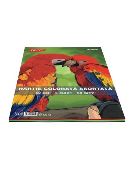 Hartie Colorata Daco Hr850 A4 50 Coli 5 Cul 80G/Mp