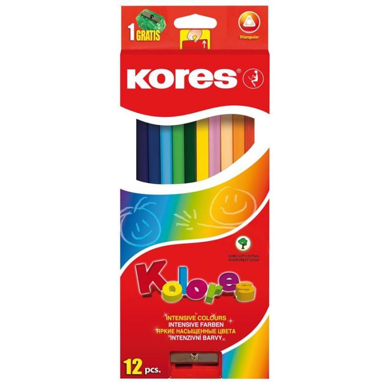 Creioane Colorate Kores Triunghiulare, 12 Culori + Ascutitoare
