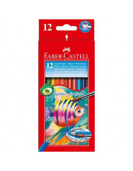 Creioane Colorate Acuarela Faber-Castell 12 Buc + pensula
