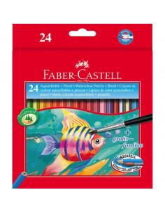 Creioane Colorate Acuarela Faber-Castell 24 Buc + pensula