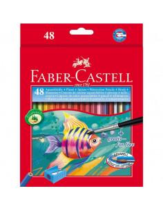 Creioane Colorate Acuarela Faber-Castell 48 Buc + pensula