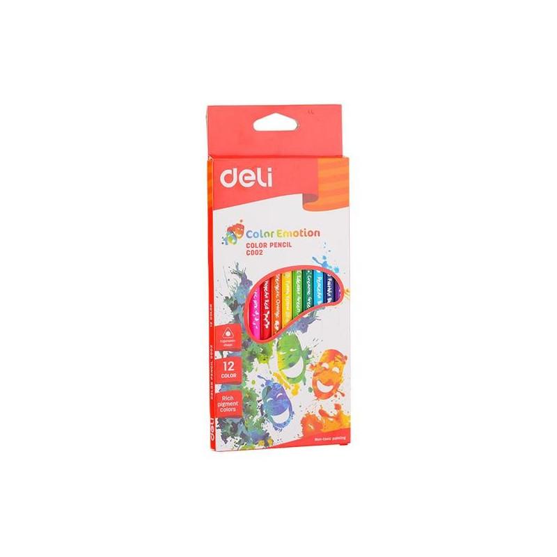Creioane Colorate Deli, 12 Culori Color Emotion