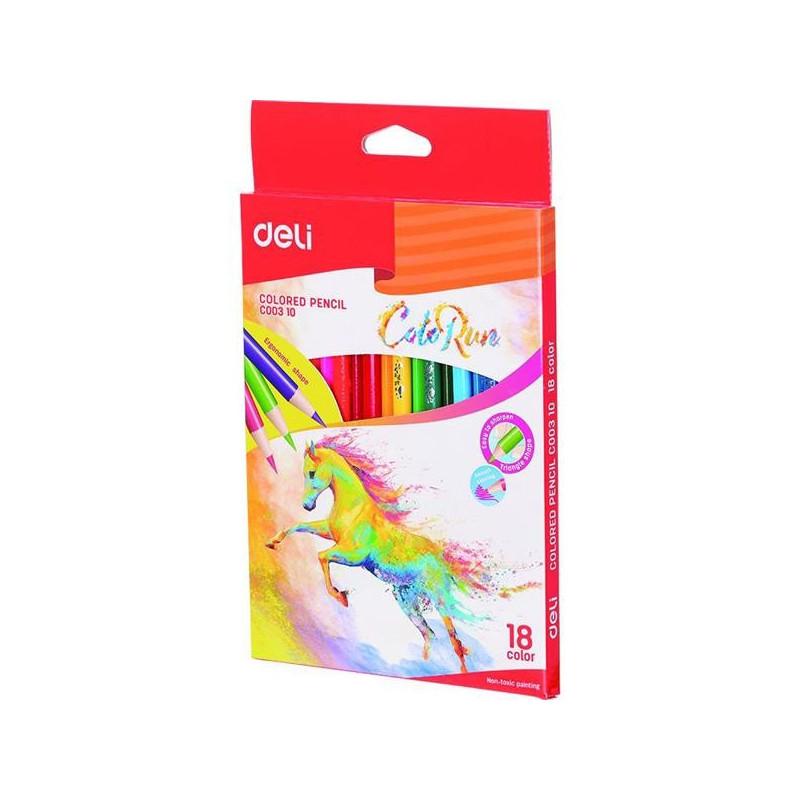 Creioane Colorate Deli, 18 Culori ColoRun