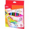 Creioane Colorate Deli, 24 Culori Colorun