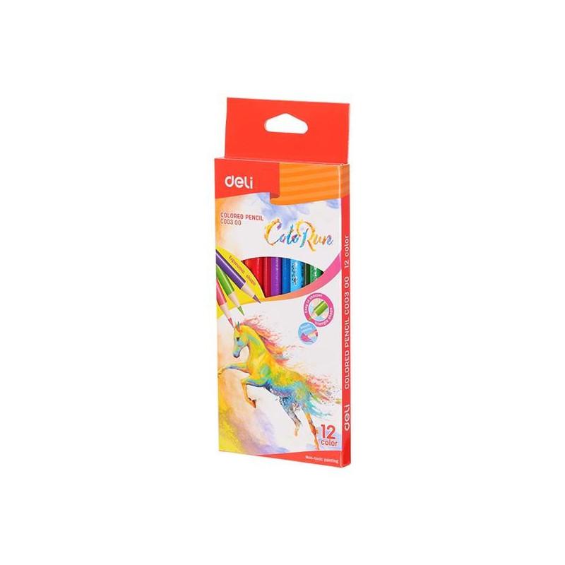 Creioane Colorate Deli, 12 Culori Colorun