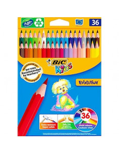 Creioane colorate BIC Evolution, 36 buc/set