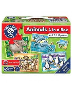 Set 4 Puzzle Orchard Toys Animale Piese Animals Four In A Box, 4 6 8 Si 12