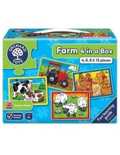Set 4 Puzzle Orchard Toys La Ferma Piese Farm Four In A Box, 4 6 8 Si 12
