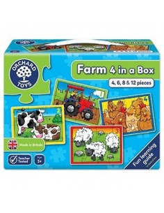 Set 4 Puzzle Orchard Toys La Ferma Piese Farm Four In A Box, 4