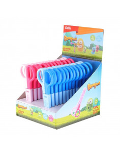 Foarfeca Scolara Deli Cu Protectie Plastic, 12 cm, Albastru
