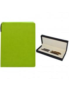 Set Office - Agenda A5 Nedatata Verde, 120 File cu Pix si