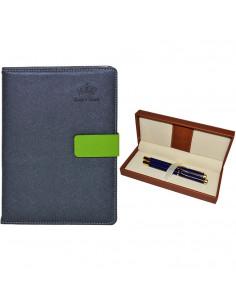 Set Office 11 - Agenda A5 Nedatata Bleumarin cu magnet, 120 File cu Pix si Stilou Albastru in Etui