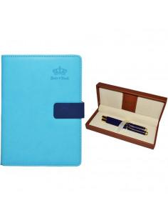Set Office 11 - Agenda A5 Nedatata Albastra cu magnet, 120 File cu Pix si Stilou Albastru in Etui
