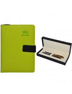 Set Office - Agenda A5 Nedatata Verde cu magnet, 120 File cu Pix si Stilou Argintiu in Etui