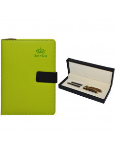 Set Office - Agenda A5 Nedatata Verde cu magnet, 120 File cu