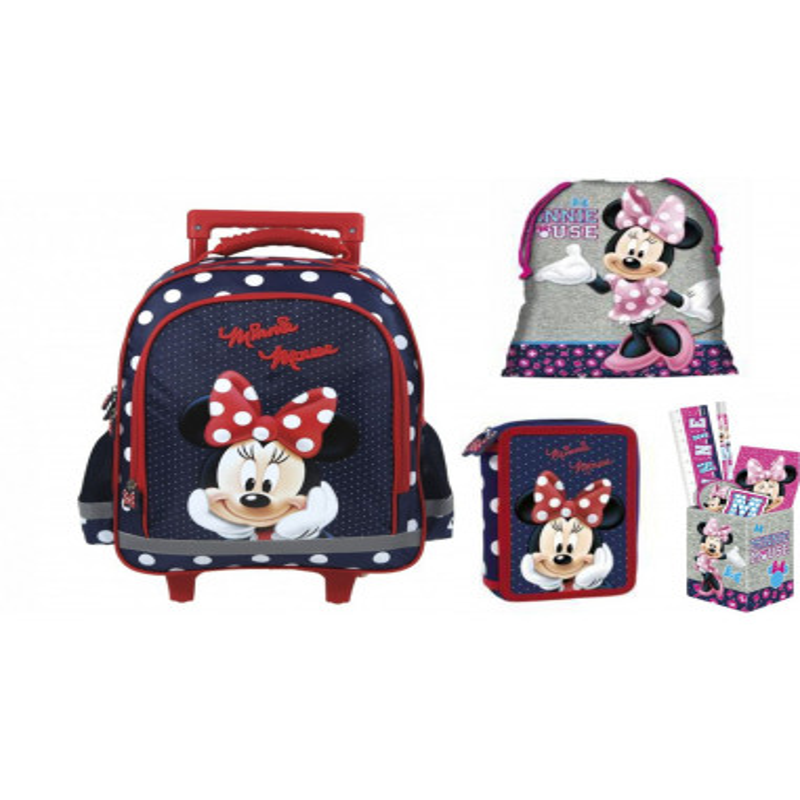 Set Scoala Minnie Mouse - Troller, Penar Echipat 2 Fermoare