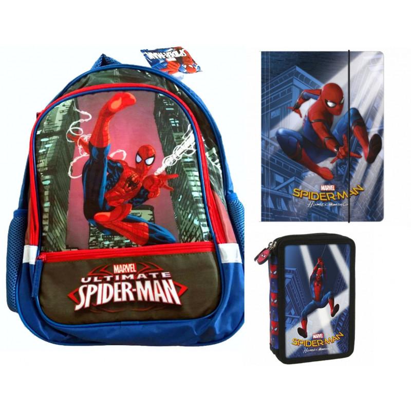 Set Scoala Spiderman - Ghiozdan Herlitz, Penar Echipat, 2 Mape