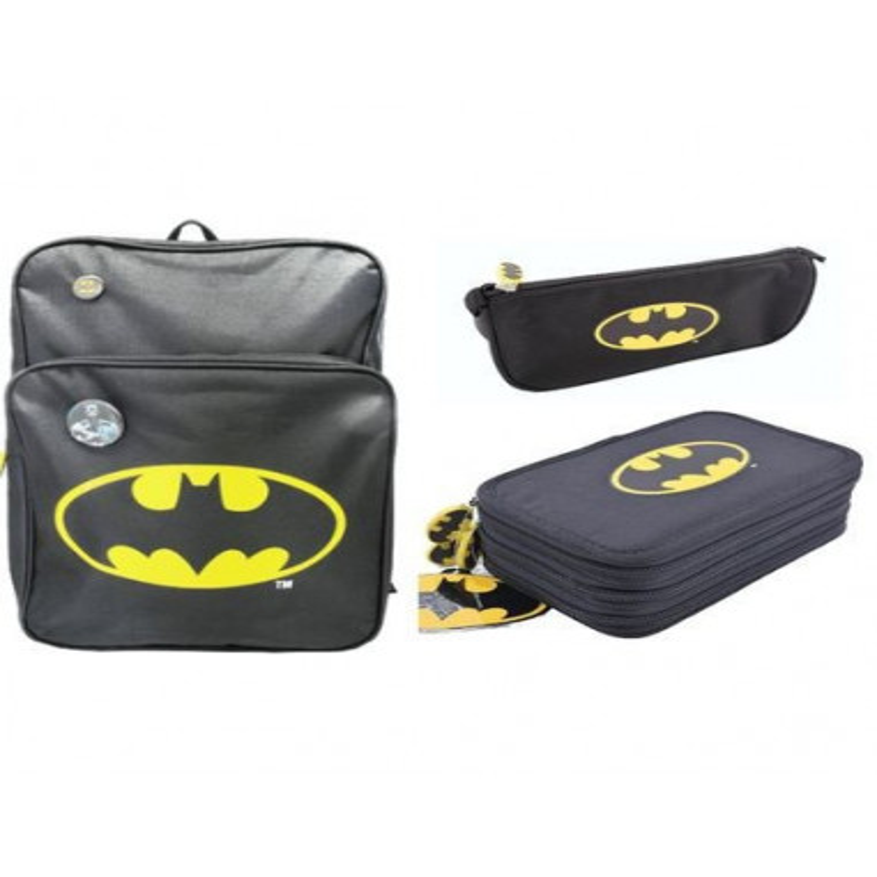 Set Scoala Batman - Ghiozdan, Penar 3 Fermoare Neechipat, Penar