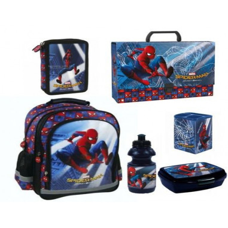 Set Scoala Spiderman 4 - Ghiozdan, Penar Echipat, Cutie