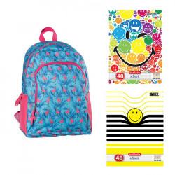 Set scoala - Ghiozdan B'log Flamingo + 10 caiete, 48 File