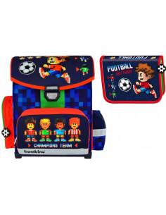Set scoala Bambino Football - Ghiozdan ergonomic, Penar neechipat, 20 caiete Herlitz A5 48 File