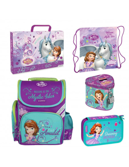 Set scoala Sofia The First - Ghiozdan ergonomic + Penar echipat