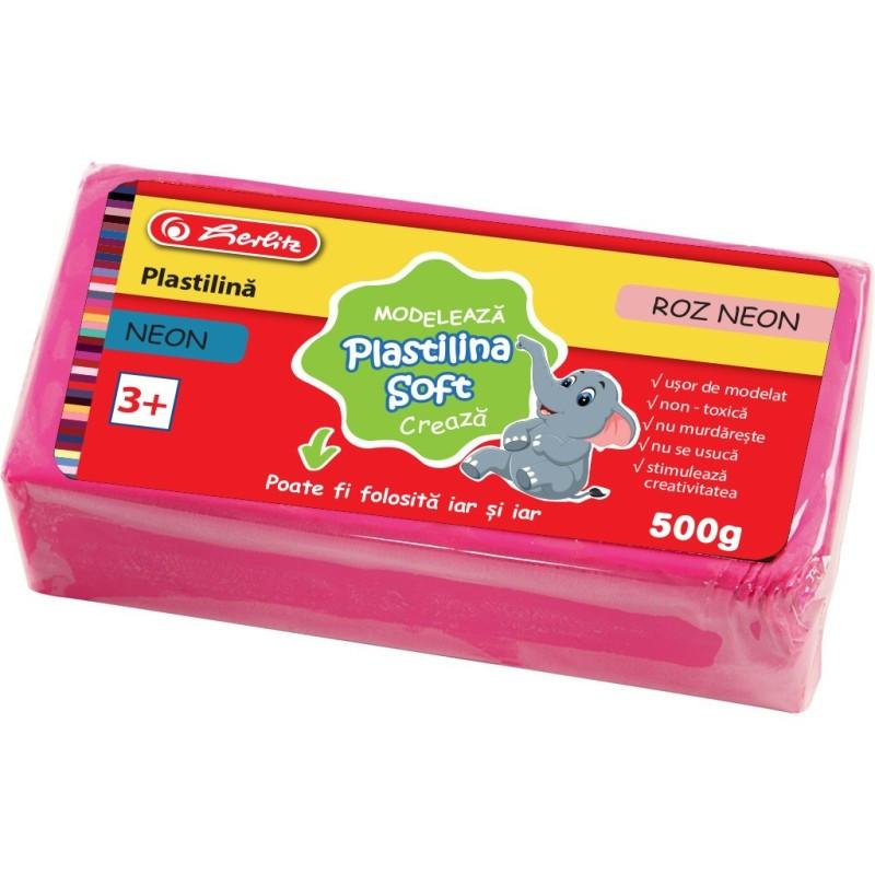 Plastilina Soft Clay, 500 Gr, Roz Neon