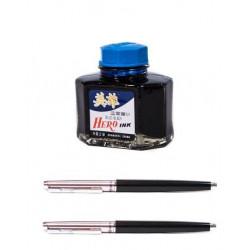 Set Hero - 2 stilouri Hero 007 culoare negru + Cerneala hero