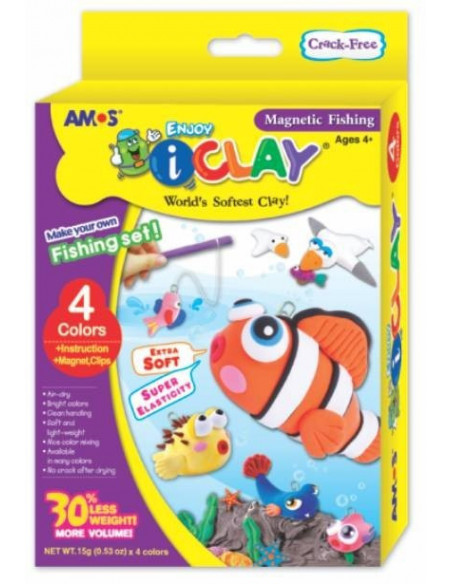 Plastilina Amos iClay, 4 buc/set, model Fishing + accesorii