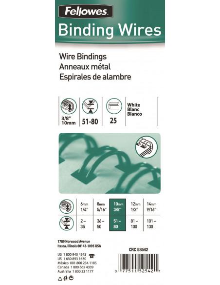 Inele Metal Indosariere 10 mm Fellowes Alb - 100 buc / cutie