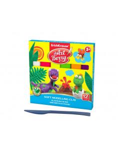 Plastilina ArtBerry cu Aloe Vera, 12 culori si cutit modelaj