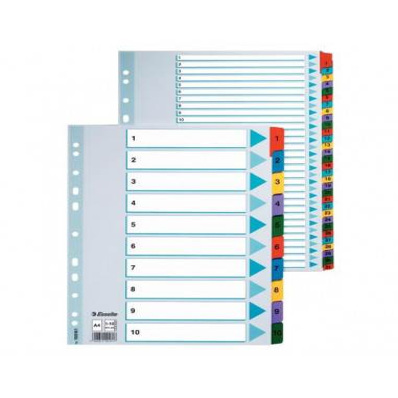 Separatoare Index Carton Mylar Esselte 1 - 10