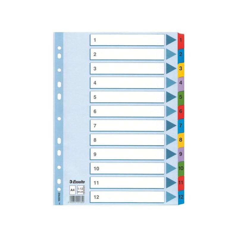 Separatoare Index Carton Mylar Esselte 1 - 12