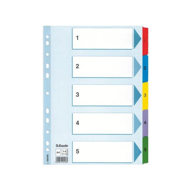 Separatoare Index Carton Mylar Esselte 1 - 5