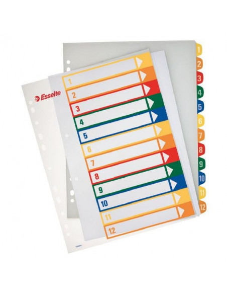 Separatoare Index Plastic Imprimabil Esselte 1 - 12
